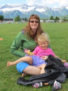Kari & Ella watching soccer